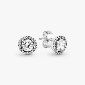 Authentic Pandora Round Sparkle Stud Earrings